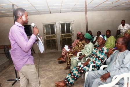 OneLife's Programmes Manager engaging with the audience at the Workshop in Ogbomoso