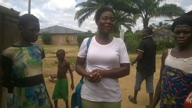 Motilola, a youth corps member discussing with Favour and Mrs. Obinna