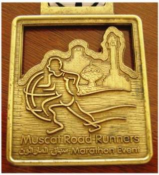 Close-up of finisher's medal