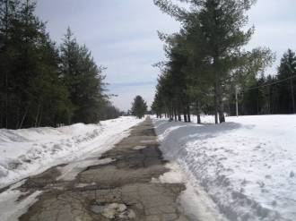 This is a side road that gets little traffic, so still plenty of snow here.