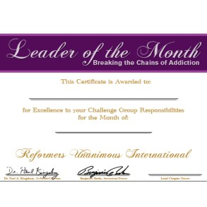 Leader of the Month Certificate