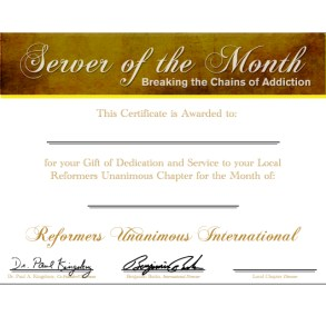 Server of the Month Certificate