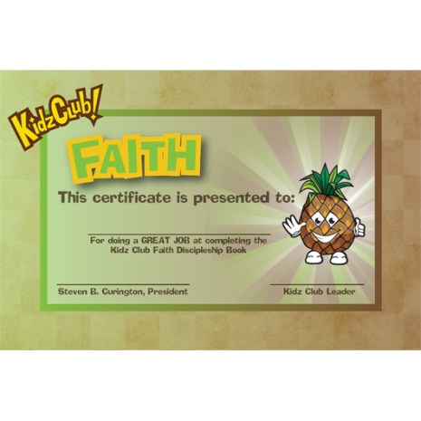 Kidz Faith Certificate