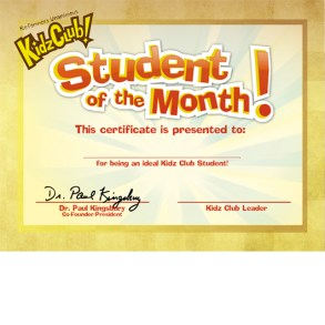 Kidz Club Student of the Month Award