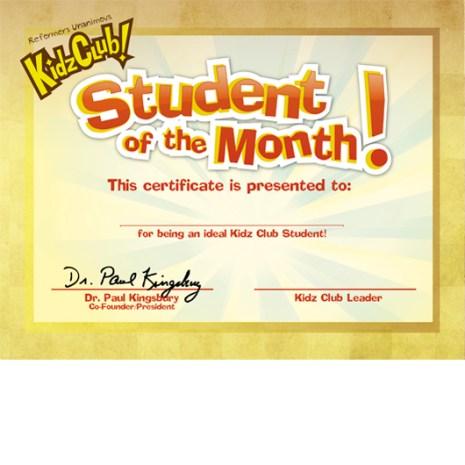 Kidz Club Student of the Month Award