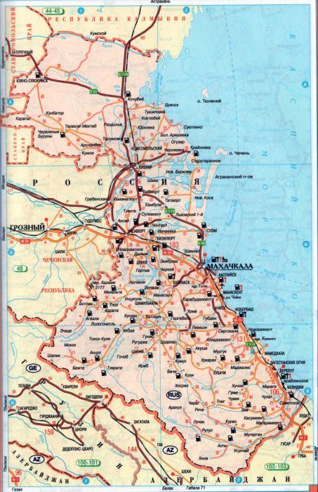 Подробная карта схема авто дорог республики Дагестан ...