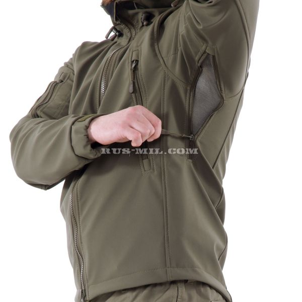 Russian Jacket from the membrane Softshell color Olive Dark
