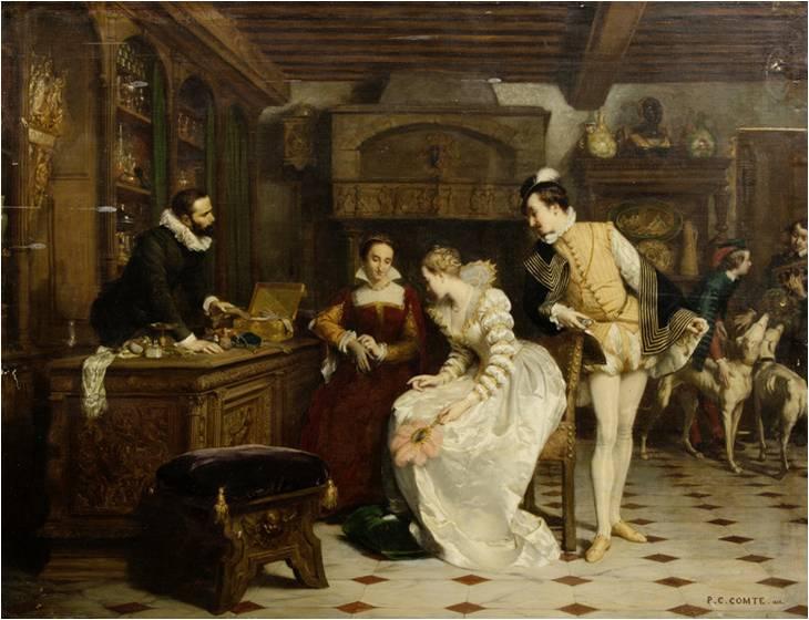 Пьер Шарль Конт. «Жанна д'Альбре покупает у парфюмера Екатерины Медичи перчатки»
