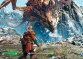 God of War (2018): Kratos Kämpft gegen einen Drachen.