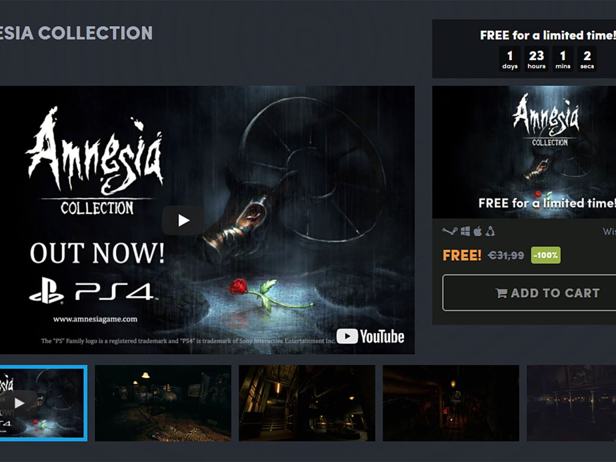 Kostenlos: Amnesia Collection bei Humble Bundle