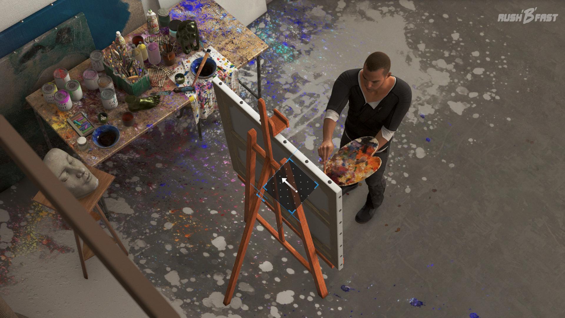 Detroit: Become Human - Auf Wunsch von Carl versucht Markus ein Bild zu malen.
