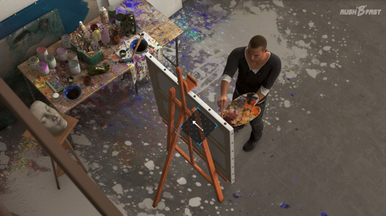Auf Wunsch von Carl versucht Markus ein Bild zu malen.