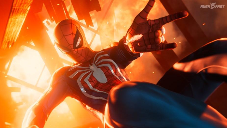 Marvel's Spider-Man - Volle Konzentration: Spidey sucht nach einer passenden Stelle um sich festzuhalten.