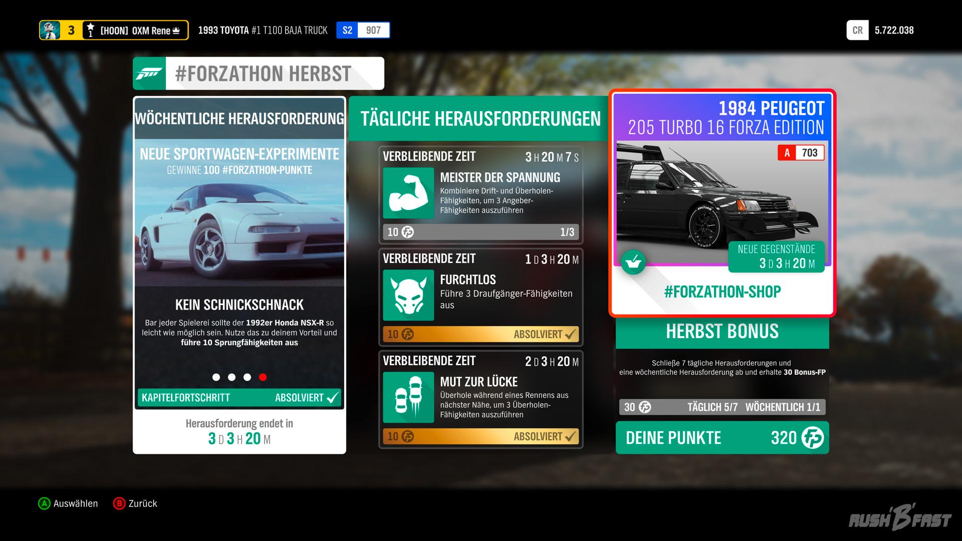 Forza Horizon 4 - #Forzathon Herbst Herausforderungen und Shop