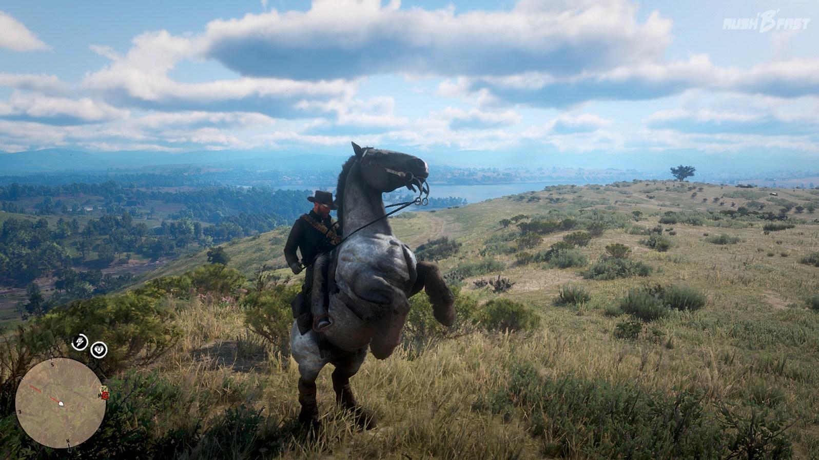 Red Dead Redemption 2: Bei fortgeschrittener Verbundenheit zu seinem Pferd sind Manöver wie Aufbäumen, Rutschen und Piaffe möglich.