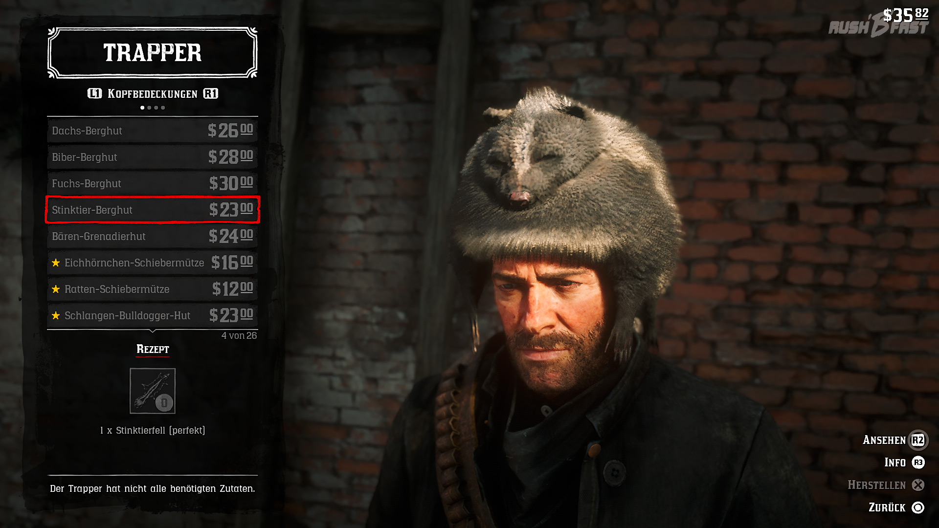 Red Dead Redemption 2: Verkaufen wir unsere perfekten Felle beim Trapper, können wir uns skurrile Kleidungsstücke herstellen lassen.