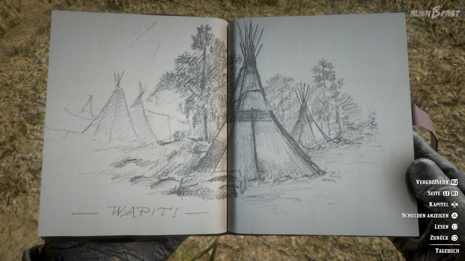 Red Dead Redemption 2: Arthur Morgan führt ein ausführliches Tagebuch mit detaillierten Zeichnungen.