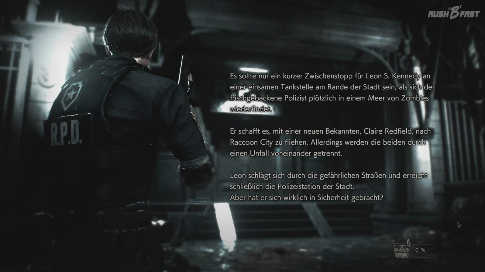 Resident Evil 2 - Demo Intro - Beschreibung des Spielstands