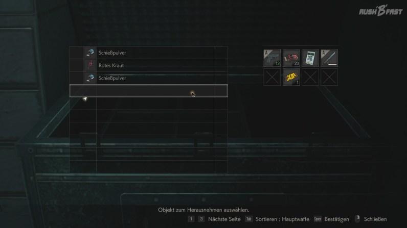 Resident Evil 2 - Wie früher - in dieser Kiste lässt sich alles verstauen, was wir nicht unbedingt brauchen.