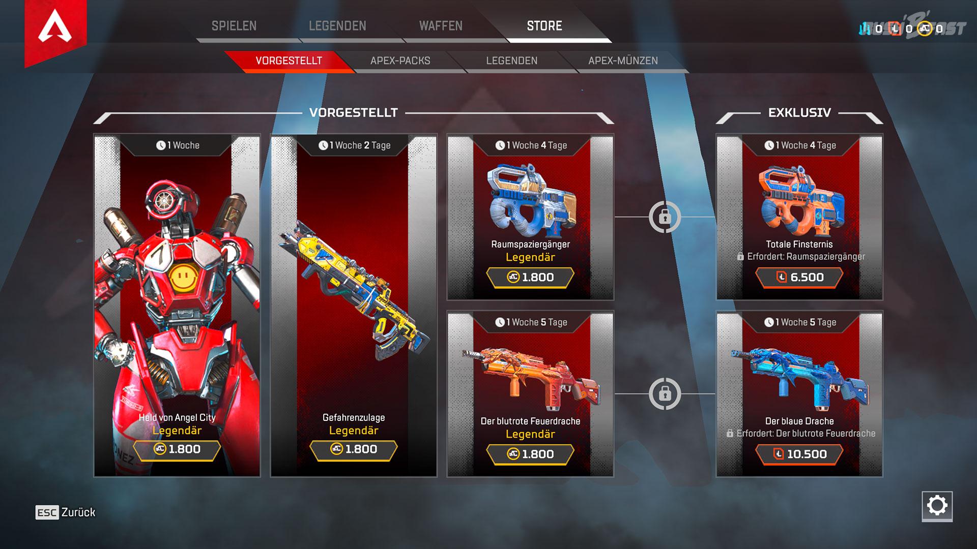 Im Ingame-Store gibt es bereits eine Auswahl an besonderen Waffen- und Charakterskins - mit wechselnden Angeboten.