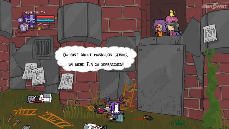 Castle Crashers - Aus der Rettung der Prinzessin wird wohl nichts, wir sind einfach zu schwach für diese Tür!