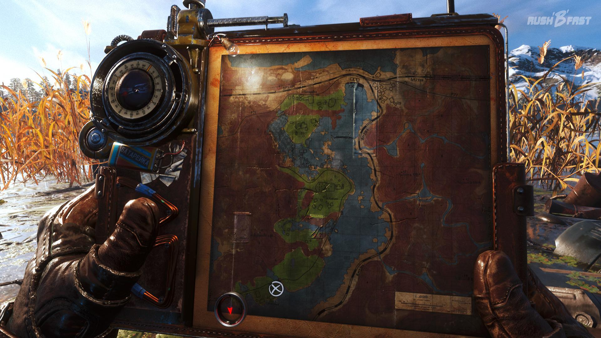 Metro Exodus - Eine Karte mit integriertem Kompass hilft uns bei der Orientierung durch die großen Areale.