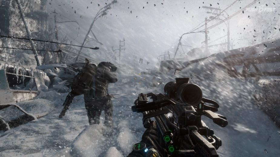 Metro Exodus - Mit der verbesserten Armbrust geht es durch den Schneesturm.