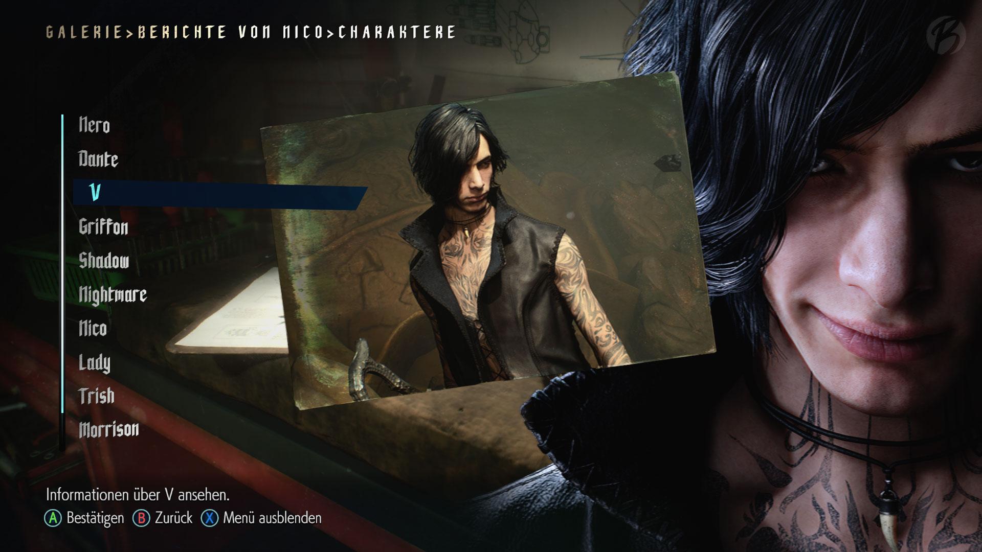 Devil May Cry 5: Berichte von Nico - Informationen zu V