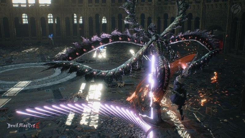 Devil May Cry 5: Hier befinden wir uns lieber mit Nero weit oben in der Luft, bevor uns der tödliche Laser-Fächer trifft.