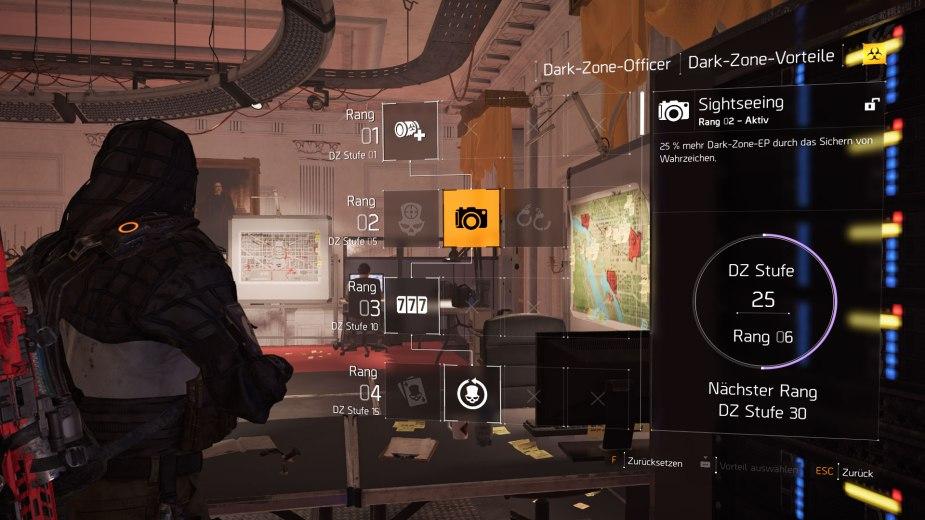 Tom Clancy's The Division 2 - Der Dark-Zone-Offizier bietet je nach Dark-Zone-Rang unterschiedliche Dark-Zone-Vorteile.