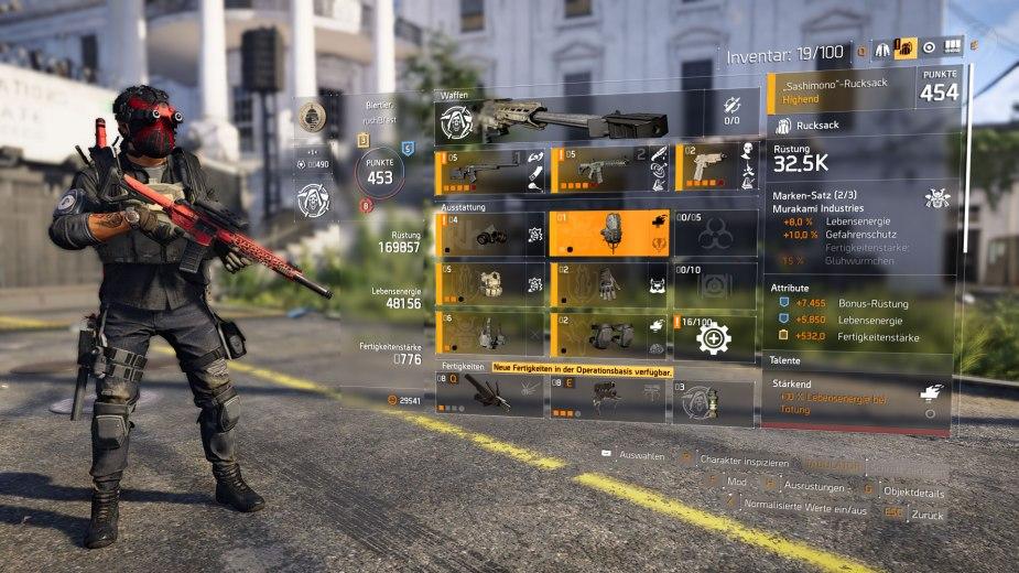 Tom Clancy's The Division 2 - Aktuelles Endgame-Inventar bestehend aus Highend-Ausrüstung und Präzisionsschützen-Spezialisierung.