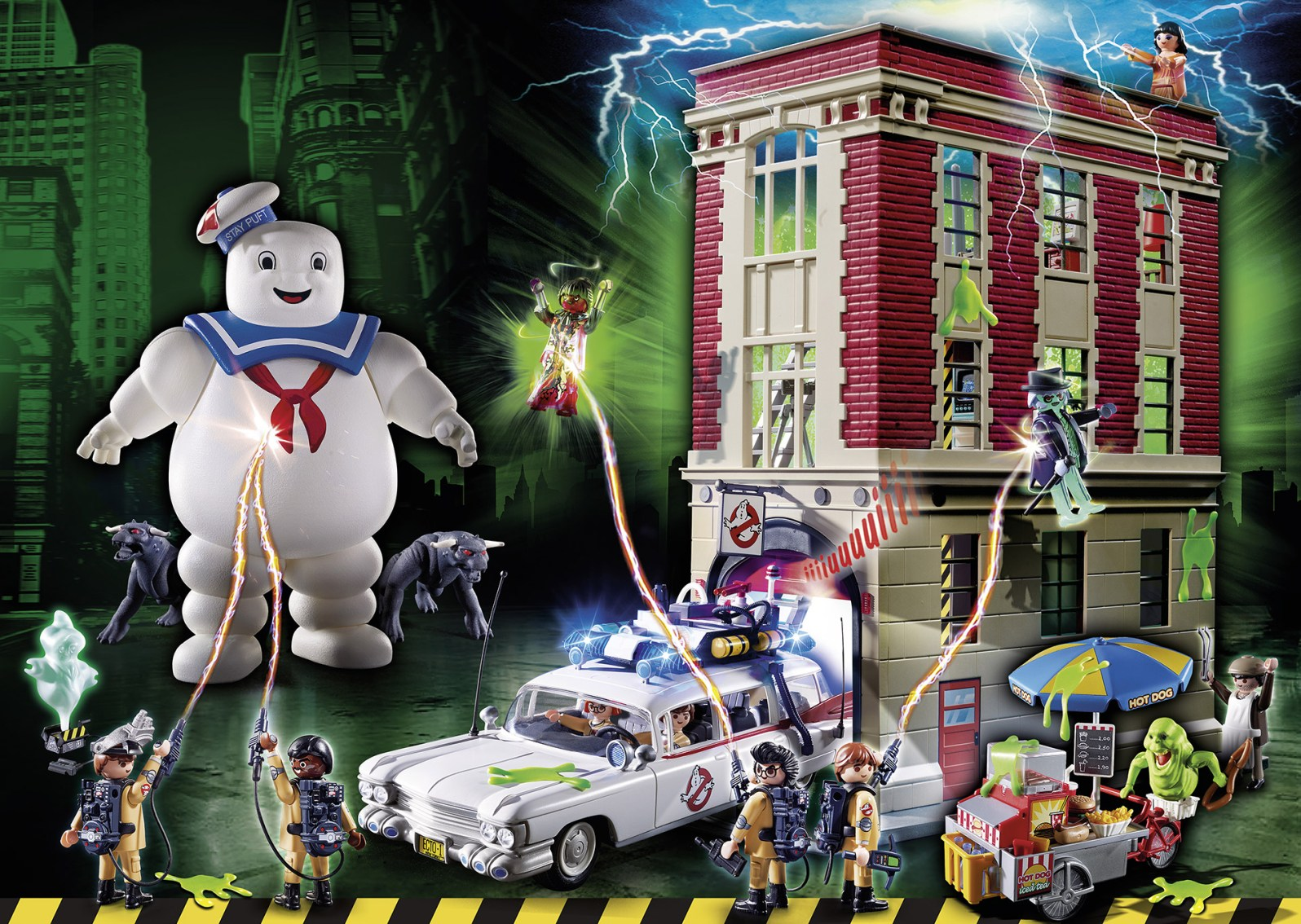 35 Jahre Ghostbusters - PLAYMOBIL Szenerie mit dem aktuellen Ghostbusters Sortiment.