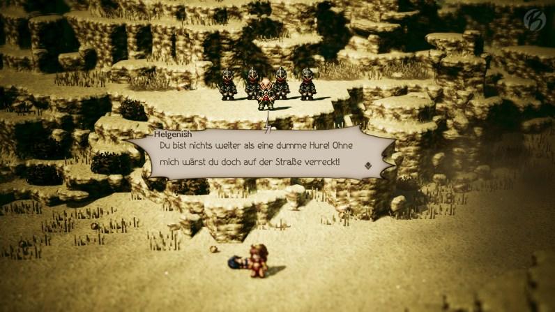 Kein Kinderspiel: In Octopath Traveler können die Dialoge schon einmal etwas schroffer ausfallen.