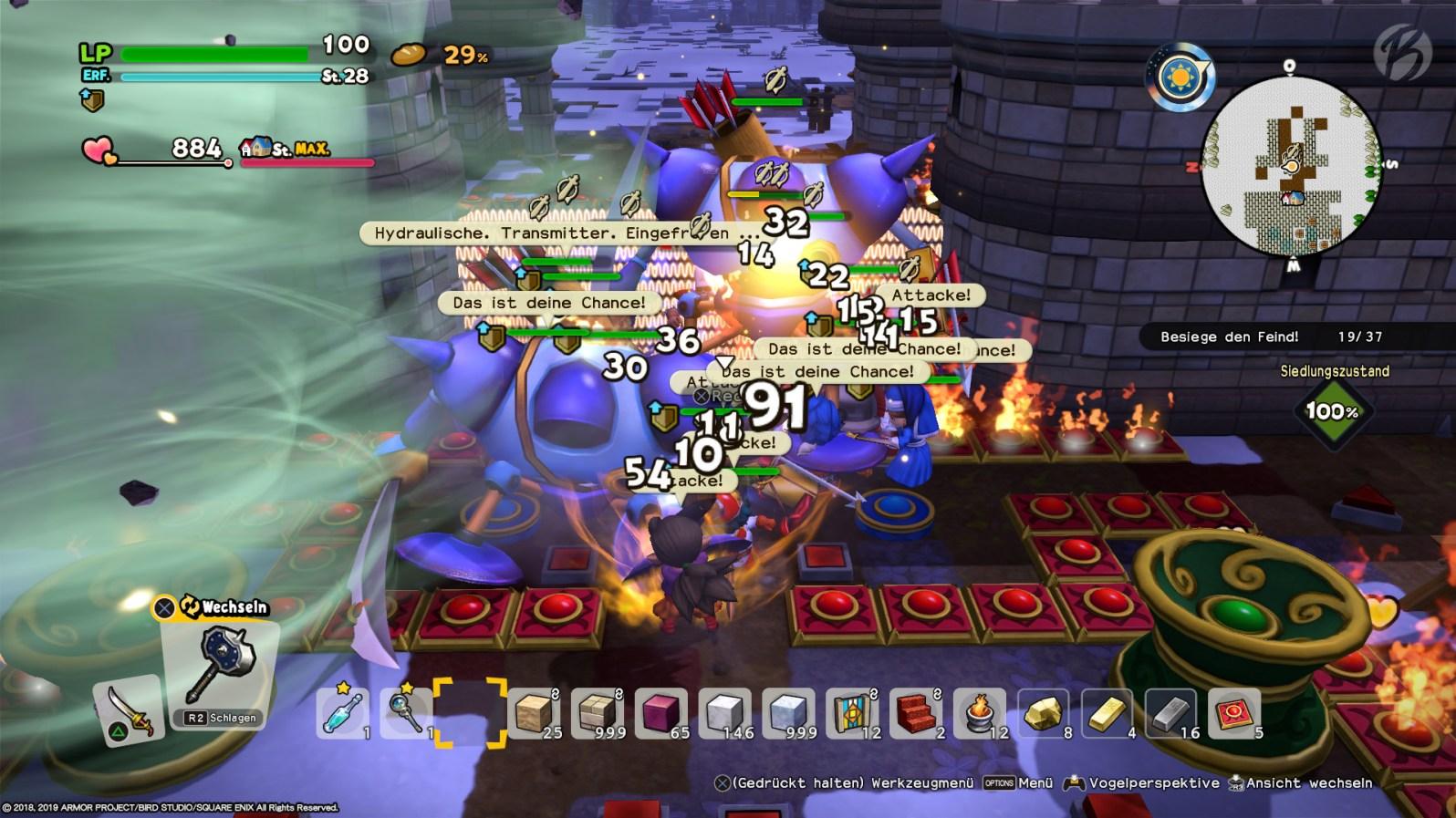 Überraschung: In Dragon Quest Builders 2 gibt es jetzt richtig gute Tower-Defense-Elemente, um die heranstürmenden Monster zu bezwingen.