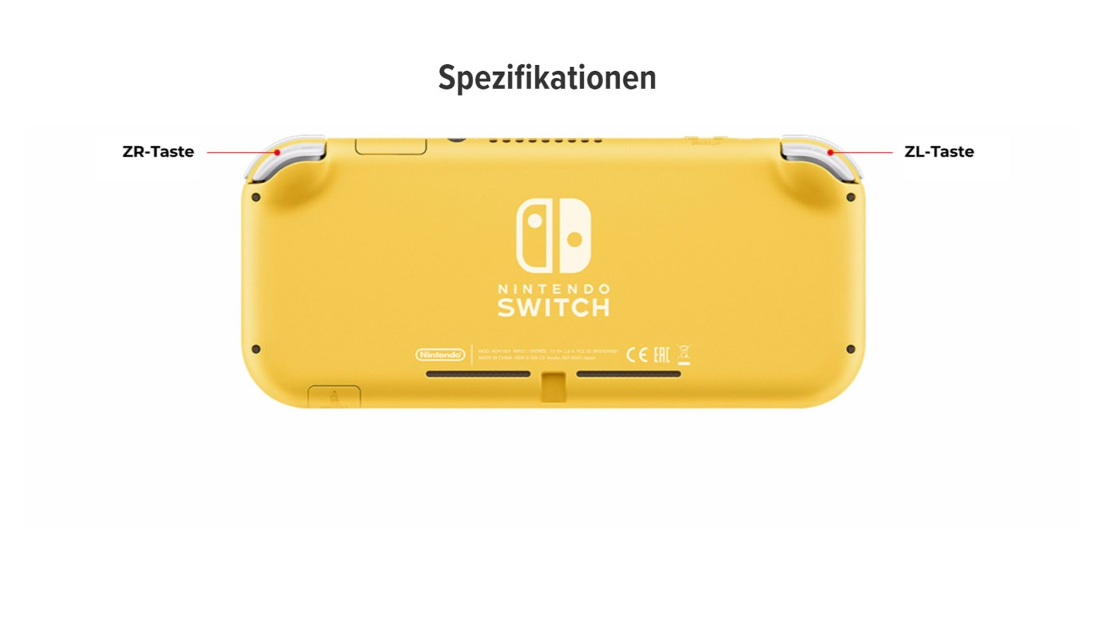 Quelle: Nintendo - Rückseite: Nintendo Switch Lite (gelbe Version)