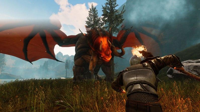 Citadel: Forged with Fire bietet Gegner aller Größenordnungen an. Hier der Kampf gegen einen mächtigen Drachen.