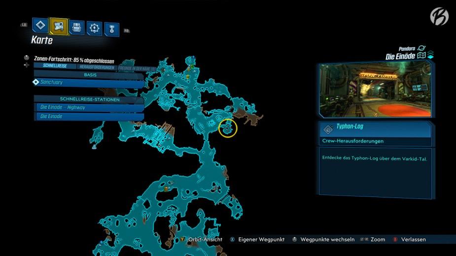 Den Demoskaggon findet Ihr auf Pandora in der Einöde, nicht weit entfernt vom ersten Reisepunkt (siehe gelbe Markierung).