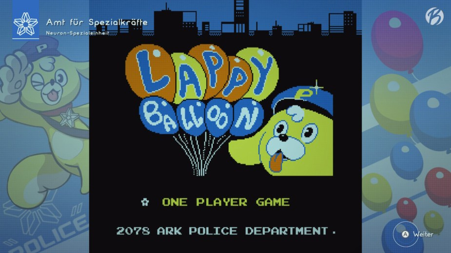 Astral Chain steckt voller Überraschungen, wie dieses Minispiel im Retro-Look zeigt. Mit Maskottchen Lappy verteilen wir Ballons an vorbeigehende Passanten.