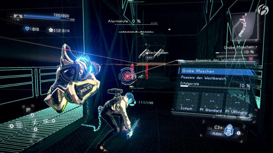 Ein Hauch von Metal Gear: Immer wieder müssen sich die beiden Zwillinge komplexen Schleichpassagen stellen, doch dank dem Einsatz des IRIS Moduls sind die Gegner gut erkennbar.