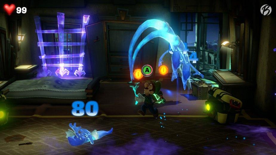 Luigi's Mansion 3 - Wenn wir uns richtig zu den Geistern ausrichten, können wir gleich mehrere Widersacher auf einmal besiegen.