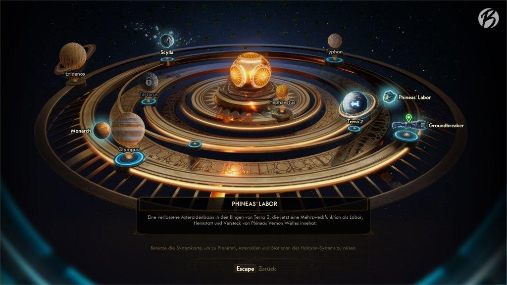 The Outer Worlds - Was hier auf der Systemkarte sehr übersichtlich aussieht, bringt zahlreiche Spielstunden mit sich. Manche Planeten besuchen wir sogar mehrmals.
