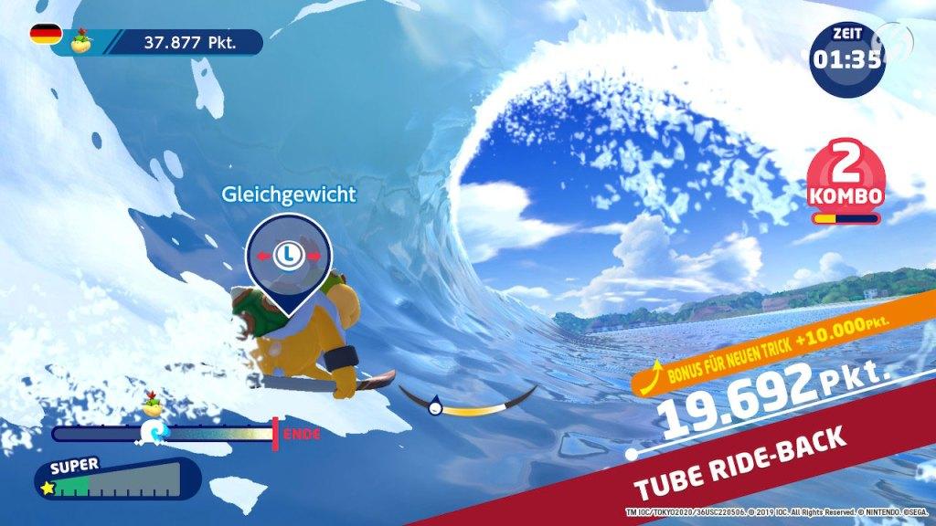 Mario & Sonic bei den Olympischen Spielen: Tokyo 2020 - Bowser Junior hält sich super in der Tube.