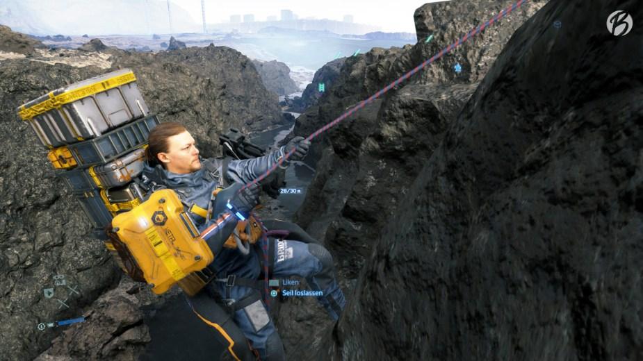 Death Stranding - Steile Abhänge sind am besten mit dem Seil zu bewältigen, allerdings nur bis zu einer Tiefe von 30 Metern.