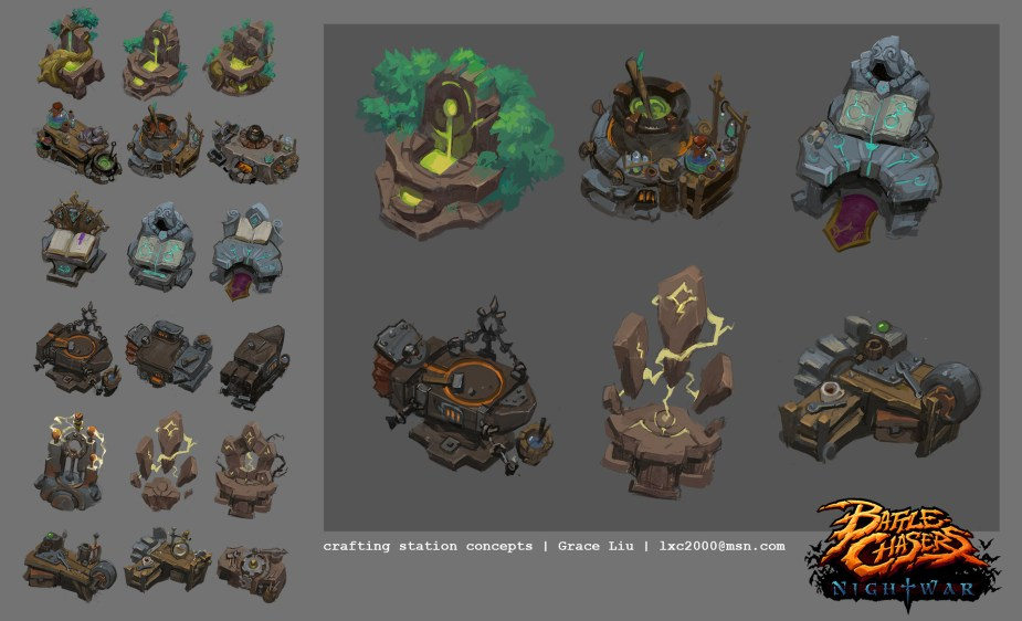 Quelle: artstation - Grace Liu - Battle Chasers: Nightwar (bc-crafting-station-concept-01)