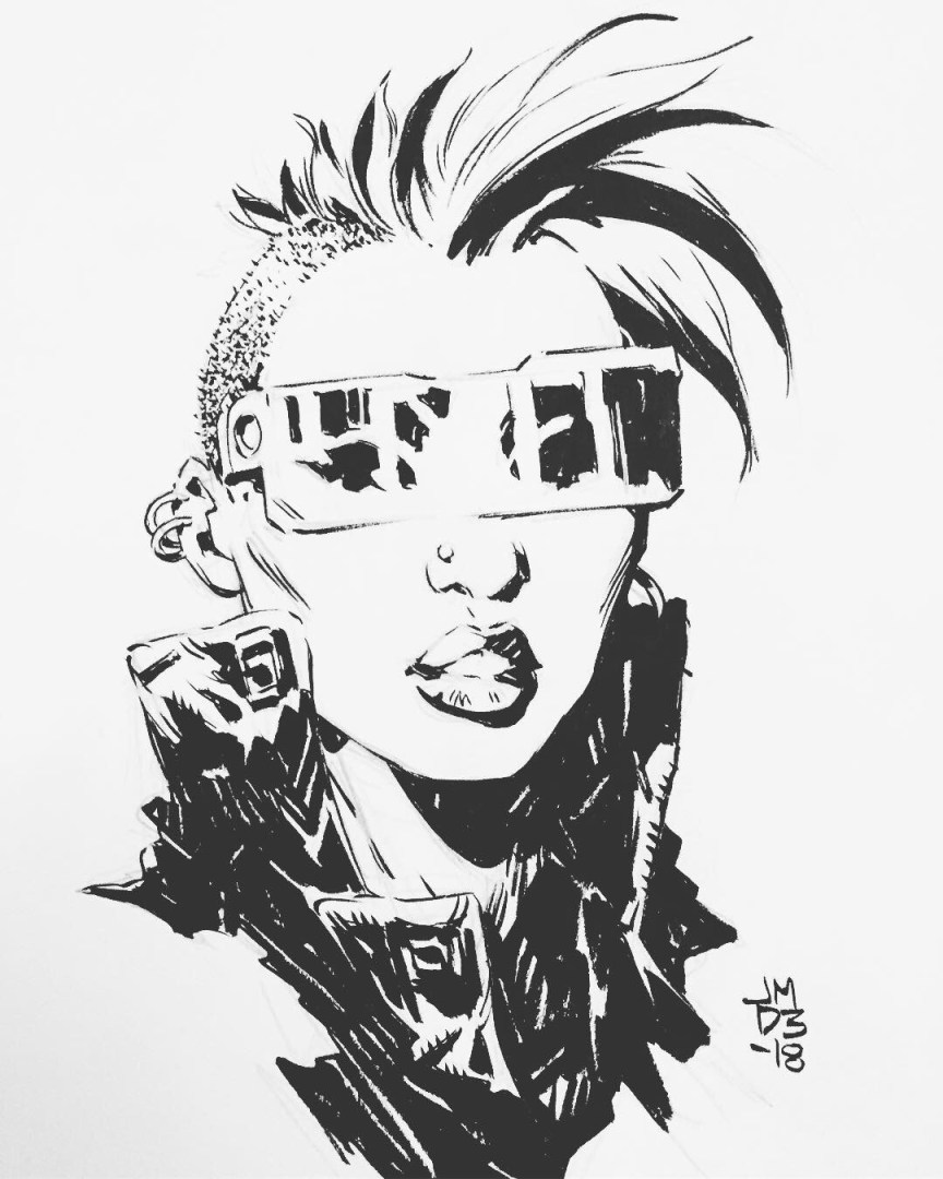 James Daly - Ink Sketch - Sci-fi Girl