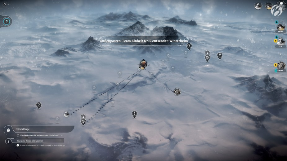 Frostpunk - Auf der Übersichtskarte lassen sich mit den Erkundungstrupps noch weitere Ressourcen entdecken.