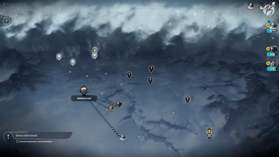Frostpunk - Ein gewaltiger Schneesturm zieht auf.