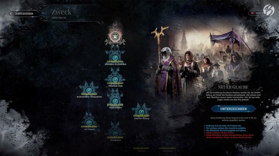 Frostpunk - Wer sich gegen den Überwachungsstaat entscheidet, wird den Weg des neuen Glauben einschlagen müssen.
