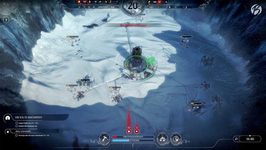 Frostpunk - Zu Spielbeginn ist die Kälte noch erträglich, so dass der Kern nur Nachts hochgefahren werden muss.
