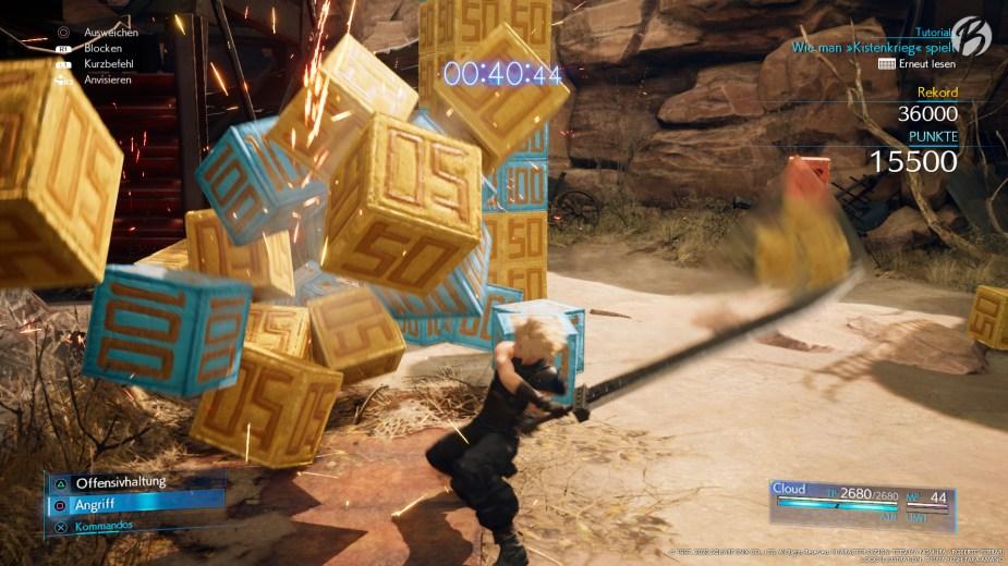 FINAL FANTASY VII (Remake) - Mini-Spiel Kistenkrieg. Hier lassen sich die wertvollen Mogry-Medaillen leicht beschaffen.